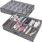 Shoe Organizer Under Bed Adjustable Dividers, Shoes Storage Containers Box (2 Pack Fits 24 Pairs) With Clear Cover, for Sneakers,Clothes, Great Space Saver for Your Closet, Gray Lantern Pattern
