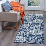 Piper Navy 2x8 Runner Area Rug for Hallway, Walkway, Entryway, or Foyer - Transitional, Floral