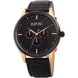 Men's Genuine Leather Strap Watch - Black - August Steiner Watches