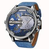 Fashionwu Men Business Two Time Zone Quartz Watch Stylish Luxury Leather Watchband Wristwatch Denim Blue