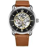 Stuhrling Original Skeleton Watches for Men - Mens Automatic Watch Self Winding Mens Dress Watch - Mens Leather Watch Mechanical Watch for Men (Brown)