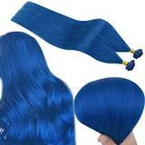 RUNATURE Blue Hair Extensions U Tip Human Hair Extension 22 Inch Colored Fusion Tip Hair Extension Real Hair Extensions 25g Prebonded Keratin Hair Extension Straight Hair Extensions