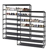 Jerry & Maggie - 8 Tier Steel Shoe Rack Shelf with One Drawer Clothes Rack Shoe Storage Shelves Free Standing Flat Racks Classic Style - Multi Function Shelf Organizer | 2 Unit Pack