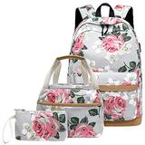 Canvas School Backpack Teens Backpack School Bag Backpack for School Book Bag set (Floral-grey)
