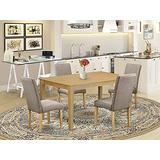 East West Furniture Dining Nook Table Set 5 Pieces - Dark Khaki Linen Fabric Dining Chairs - Oak Finish 4 legs Solid Wood Rectangular Small Dining Table and Frame
