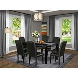 East West Furniture 7-Pc Small Dining Table Set - Black PU Leather Upholstered Dining Chairs - Black Finish 4 legs Solid Wood Rectangular Wood Dining Table and Structure