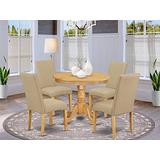 East West Furniture Wood Dining Table Set 5 Pieces - Dark Khaki Linen Fabric Parsons Chairs - Oak Finish Hardwood Pedestal Table and Structure