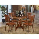 East West Furniture Modern Dining Table Set- 4 Excellent Wood Dining Chairs - A Gorgeous Mid-Century Dining Table- Wooden Seat and Mahogany Mid-Century Dining Table