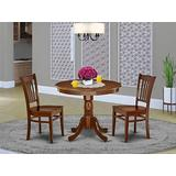 East West Furniture Wooden Dining Table Set- 2 Great Dining Room Chairs - A Wonderful Wood Table- Wooden Seat and Mahogany Wood Kitchen Table