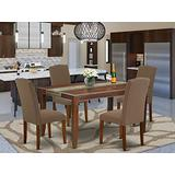 East West Furniture 5-Pieces Wood Dining Table Set - Dark Coffee Linen Fabric Parsons Dining Room Chairs - Mahogany Finish 4 legs Solid Wood Rectangular Modern Dining Table and Frame