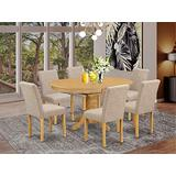 """East West Furniture 7Pc Oval 42/60"""" Dinette Table With 18 In Butterfly Leaf And 6 Parson Chair With Oak Leg And Linen Fabric Light Fawn, 7"""