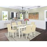 East West Furniture Set 7 Pieces PU Leather Kitchen Chairs Linen White Finish 4 legs Hardwood Rectangular Mid-century Dining Table and Frame, 7