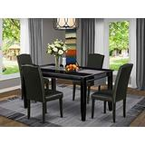 East West Furniture 5-Pc Dining Set - Black PU Leather Upholstered Dining Chairs - Black Finish 4 legs Hardwood Rectangular Dinette Table and Structure
