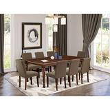 East West Furniture 9-Pc Modern Dining Table Set - Coffee Linen Fabric Padded Parson Chairs - Mahogany Finish 4 legs Hardwood Butterfly Leaf Rectangular Dinette Table and Structure