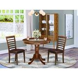 """East West Furniture 3Pc Rounded 36"""" Kitchen Table And A Pair Of Faux Leather Seat Dining Chairs, 3, Mahogany"""