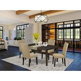 East West Furniture Dining Room Set 5 Pieces - Brown Linen Fabric Parson Dining Chairs - Cappuccino Finish 4 legs Solid Wood Rectangular Kitchen Table and Structure