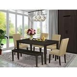 EAST WEST FURNITURE Kitchen Dining Table Set 6 Pc - Brown Linen Fabric Kitchen Chairs - Cappuccino Finish 4 legs Solid Wood Rectangular Small Dining Table and Bench