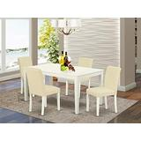 East West Furniture Set 5 Pc PU Leather Kitchen Chairs Linen White Finish 4 legs Hardwood Rectangular Wood Table and Structure, 5