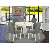 East West Furniture Dining Nook Table Set 5 Pc - Grey Linen Fabric Kitchen Chairs - Linen White Finish 4 legs Solid Wood Round Wood Dining Table and Frame