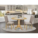 East West Furniture Dining Nook Table Set 3 Pieces - Dark Khaki Linen Fabric Parsons Dining Chairs - Oak Finish Solid wood two 9-inch drop leaves Wood Table and Frame