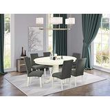 """East West Furniture 7Pc Oval 42/60"""" Dinette Table With 18 In Butterfly Leaf And 6 Parson Chair White Finish Leg And Linen Fabric-Gray Color, 7"""
