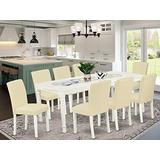 East West Furniture 9-Pieces Dining Room Set - White PU Leather Kitchen Chairs - Linen White Finish 4 legs Hardwood Butterfly Leaf Rectangular Wood Dining Table and Structure