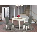 East West Furniture Small Dining Table Set 3 Pieces - Grey Linen Fabric Kitchen Parson Chairs - Linen White Finish 4 legs Hardwood Round Dining Table and Structure