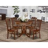 East West Furniture Modern Dining Table Set- 4 Excellent Wooden Dining Room Chairs - A Stunning Pedestal Dining Table- Wooden Seat and Mahogany Wood Kitchen Table