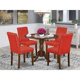 East West Furniture Nook Set 5 Pieces-Firebrick Red PU Leather Kitchen Parson Chairs-Mahogany Finish Solid wood two 9-inch drop leaves Dining Room Table and Frame, 5