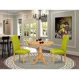 East West Furniture 3Pc Rounded 36 Inch Dining Table And 2 Parson Chair With Oak Leg And Pu Leather Color Autumn Green, 3