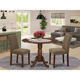 """East West Furniture 3Pc Round 42"""" Dining Room Table With Two 9-Inch Drop Leaves And 2 Parson Chair With Mahogany Leg And Linen Fabric Coffee, 3"""
