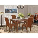 East West Furniture 5-Pieces Nook Kitchen Table Set - Brown PU Leather Kitchen Chairs - Mahogany Finish 4 legs Solid Wood Rectangular Mid-century Dining Table and Frame