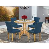 East West Furniture Set 5 Pc-Oasis PU Leather Kitchen Chairs-Oak Finish Hardwood two 9-inch drop leaves Dining Room Table and Structure, 5