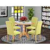 East West Furniture Round Dining Table Set 5 Pc - Limelight Linen Fabric Kitchen Parson Chairs - Oak Finish Hardwood two 9-inch drop leaves Dining Table and Structure