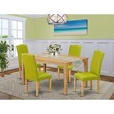 East West Furniture Mid-Century Dining Set 5 Pieces-Autumn Green PU Leather Kitchen Chairs-Oak Finish 4 Legs Hardwood Rectangular Wood Table and Frame