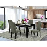 East West Furniture 5-Pc Dining Room Set - Dark Gotham Grey Linen Fabric Upholstered Dining Chairs - Black Finish 4 legs Hardwood Rectangular Modern Dining Table and Structure