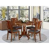 East West Furniture Dining Table Set- 4 Wonderful Dining Chairs - A Wonderful Kitchen Table- Faux Leather Seat and Mahogany Finish Round Wooden Dining Table