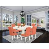 East West Furniture Small Dining Table Set 7 Pc - Pink Flamingo PU Leather Upholstered Dining Chairs - Linen White Finish Hardwood Pedestal Butterfly Leaf Pedestal Table and Frame