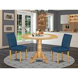 """East West Furniture 3Pc Round 42"""" Dining Room Table With Two 9-Inch Drop Leaves And A Pair Of Parson Chair With Oak Leg And Pu Leather Color Oasis, 3"""