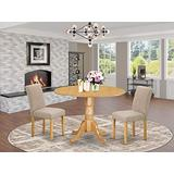 """East West Furniture 3Pc Round 42"""" Dining Room Table With Two 9-Inch Drop Leaves And 2 Parson Chair With Oak Leg And Linen Fabric Light Fawn, 3"""
