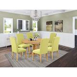 East West Furniture Small Dinette Set 7 Pieces - Limelight Linen Fabric Parson Dining Chairs - Oak Finish Hardwood Pedestal Butterfly Leaf Dining Table and Frame