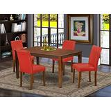 """East West Furniture CAAB5-MAH-72 5Pc Rectangle 60"""" Dining Room Table And 4 Parson Chair With Mahogany Leg And Pu Leather Color Firebrick Red, 5"""