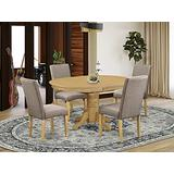 """East West Furniture 5Pc Oval 42/60"""" Table With 18 In Self Storing Butterfly Leaf And 4 Parson Chair With Oak Finish Leg And Linen Fabric-Dark Khaki Color, 5"""