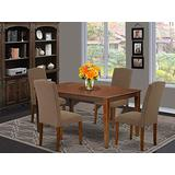 East West Furniture Mid-Century Set 5 Pieces-Dark Coffee Linen Fabric Upholstered Chairs-Mahogany Finish 4 Legs Hardwood Rectangular Dining Room Table and Frame