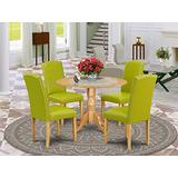 East West Furniture Round Dinette Set 5 Pieces - Autumn Green PU Leather Dining Chairs - Oak Finish Hardwood two 9-inch drop leaves Kitchen Table and Frame