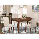 East West Furniture Dining Room Set 5 Pieces - Cream Linen Fabric Dining Room Chairs - Mahogany Finish 4 legs Solid Wood Rectangular Kitchen Table and Frame