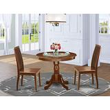East West Furniture Wooden Dining Table Set- 2 Excellent Wooden Dining Chairs - A Attractive Wood Table- Wooden Seat and Mahogany Dining Room Table