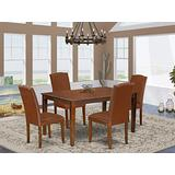 East West Furniture Nook Set 5 Pieces-Brown PU Leather Kitchen Chairs-Mahogany Finish 4 Legs Hardwood Rectangular Modern Dining Table and Structure