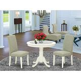 East-West Furniture Round Dinette Set 3 Pieces - Dark Shitake Linen Fabric Parsons Dining Chairs - Linen White Finish Hardwood Pedestal Kitchen Table and Frame