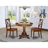 East-West Furniture Dining Set- 2 Amazing Dining Chairs - A Stunning Dinner Table- Wooden Seat and Mahogany Modern Dining Table
